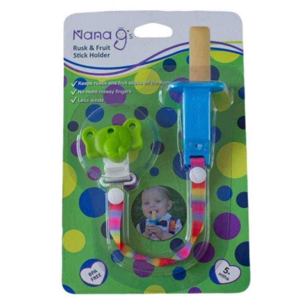 Nana G's Rusk and Fruit Stick Holder  blue and green