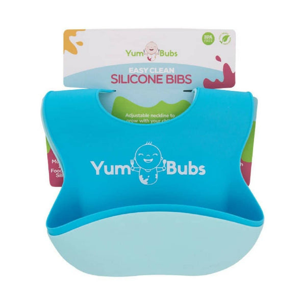 YumBubs Easy Clean Silicone Baby Feeding Bibs Twin Pack