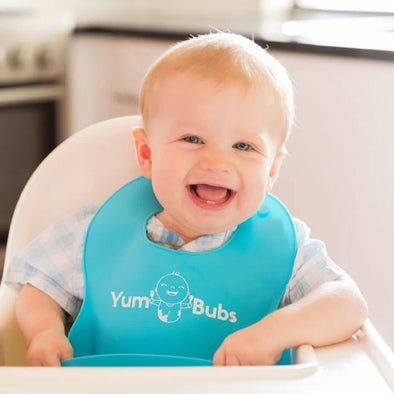 YumBubs Easy Clean Silicone Baby Feeding Bibs Twin Pack for messy babies