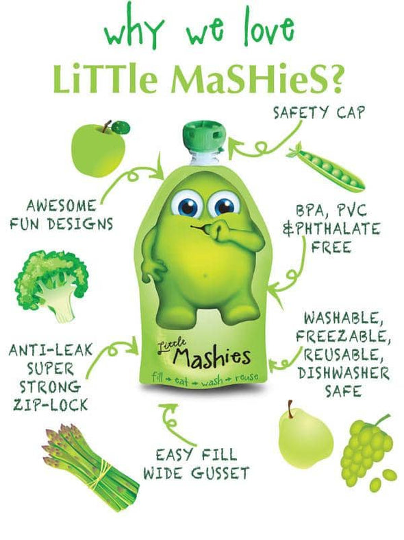Little Mashies Reusable Food Pouches for baby food.