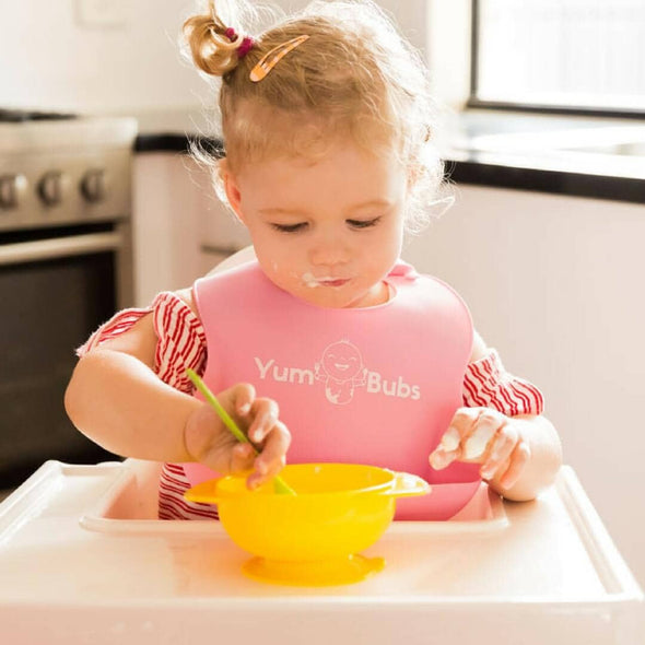 YumBubs Suction Bowl with Lid yellow BPA Free with bib