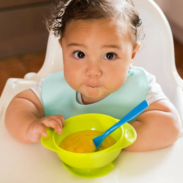 YumBubs Suction Bowl with Lid green BPA Free with bib