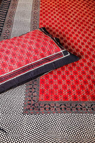 Red-Black Traditional Block Printed Bedsheet