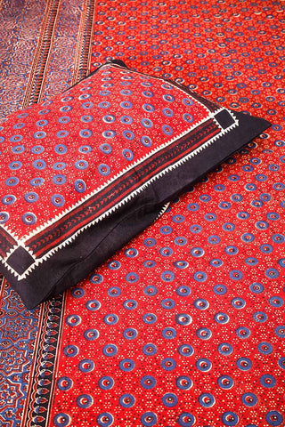 Red-Indigo Traditional Block Printed Bedsheet