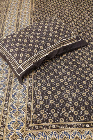 Beige-Black-Blue Traditional Block Printed Bedsheet