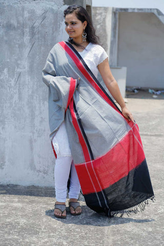 Grey Red Checkered Ikat Hand-woven Dupatta