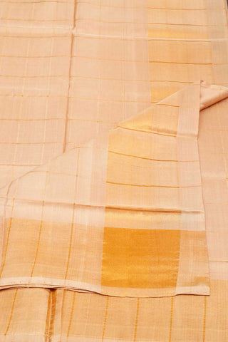 Dark Beige Gold Checkered Uppada Silk Saree
