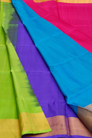 Pink Blue Violet Green Multi-colored Uppada Silk Saree