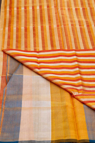 White Grey Red Stripes Tissue Uppada Silk Saree