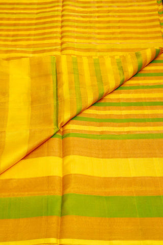 Yellow Green Gold Stripes Uppada Silk Saree