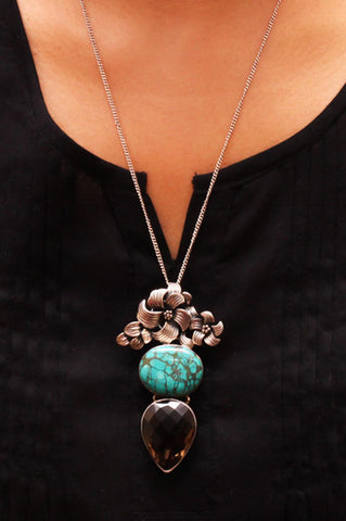 Ornate Pendant Chain - Turquoise and Smoky Quartz – 925 Sterling Silver