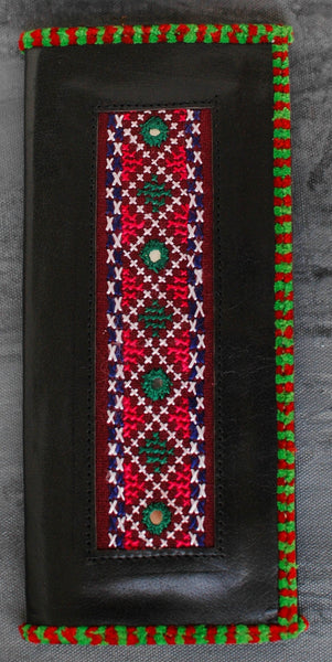 Kutchi Embroidered Leather Wallet - Green Red