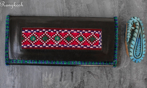 Kutchi Embroidered Leather Wallet - Green Blue