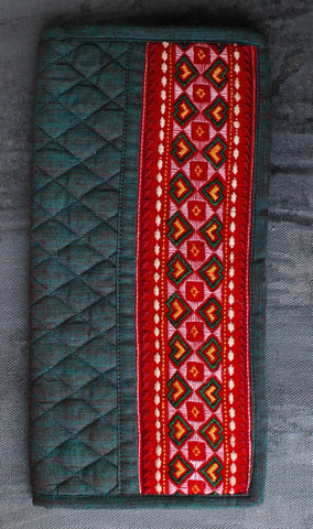 Kutchi Embroidered Cotton Wallet/ Clutch - Green-Red