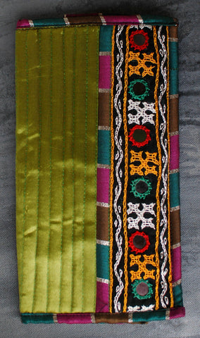 Kutchi Embroidered Satin Wallet/ Clutch - Green