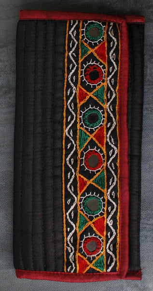 Kutchi Embroidered Silk Wallet/ Clutch - Black