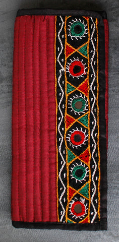 Kutchi Embroidered Silk Wallet/ Clutch - Red