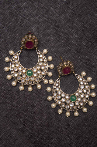 Gold-plated Chandbaali Red