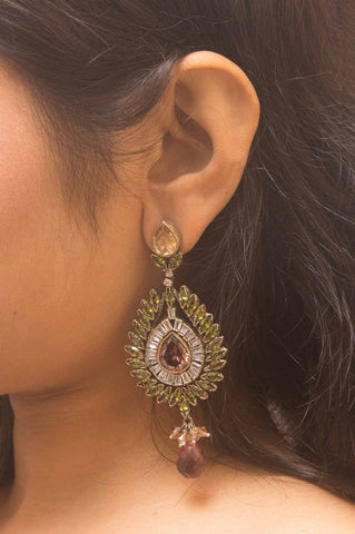 Traditional Multicolour Stone Brass Earrings