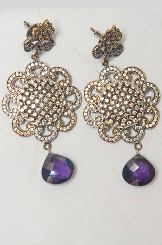Sanvi Stone Brass Earrings Purple