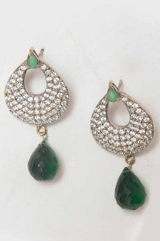 Gold-plated Earrings Green Drops