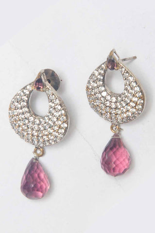 Gold-plated Earrings Magenta Drops