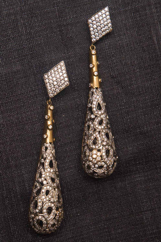 Aashi Studded Long Brass Earrings