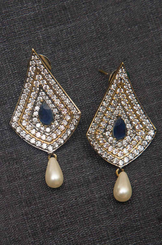 Blue Studded Brass Earrings