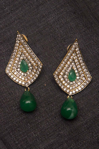 Green Stone Brass Earrings