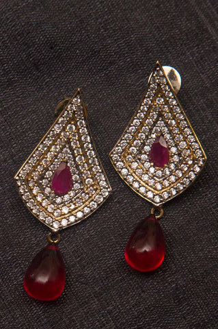 Red Stone Brass Earrings
