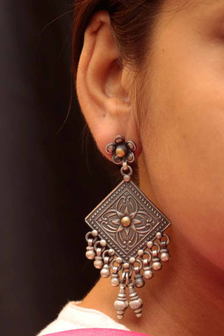 Diamond shaped Gold Plated Silver earrings