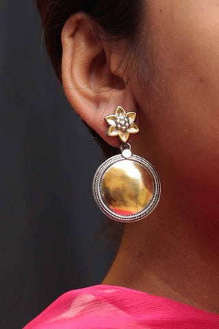 Flower Gold Plated Silver Circle Earrings