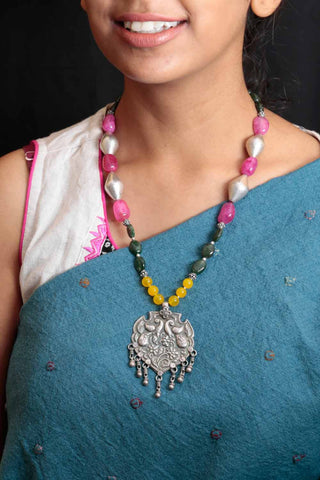 Peacock Amulet Silver Necklace Yellow and Pink Agate Aventurine