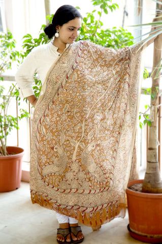 Brown Beige Floral Peacocks Crepe Silk Kalamkari Dupatta