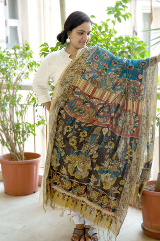 Black Blue Red Nartaki Chanderi Kalamkari Dupatta