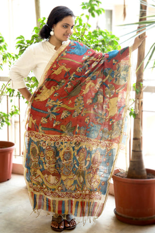 Blue Red Krishna Gopika Animals Chanderi Kalamkari Dupatta