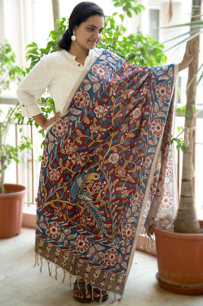 Tan Blue Red Peacock Cotton Kalamkari Dupatta