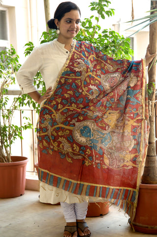 Dark Red Krishna Calf Kalamkari Chanderi Dupatta