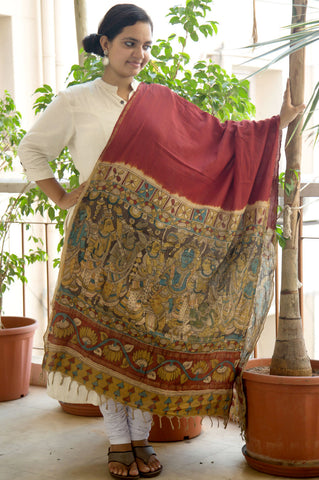Red Rama Pattaabhishekham Cotton Kalamkari Dupatta