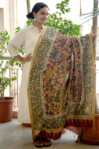 Yellow Red Floral Mangalgiri Cotton Kalamkari Dupatta