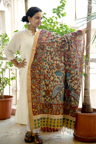 Yellow Red Blue Peacocks Mangalgiri Cotton Kalamkari Dupatta