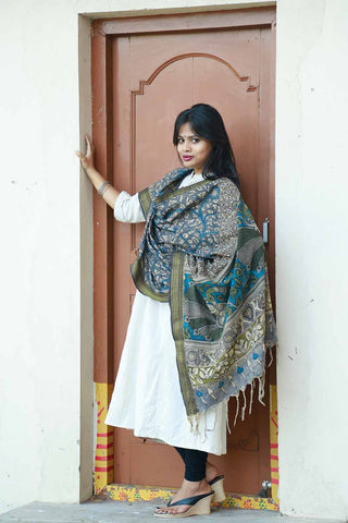 Blue Green Peacocks Mangalgiri Cotton Kalamkari Dupatta