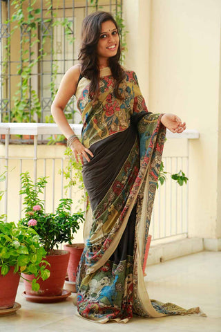 Black Airawat Ganesha Hand-painted Cotton Kalamkari Saree