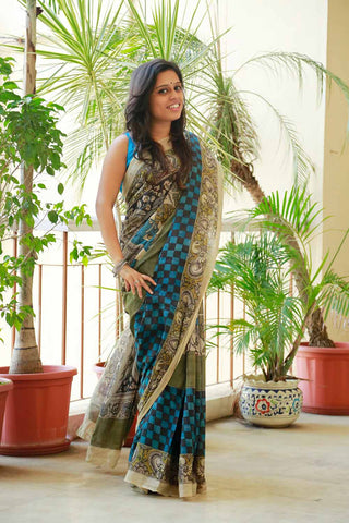 Black Blue Chessboard Peacock Hand-painted Cotton Kalamkari Saree