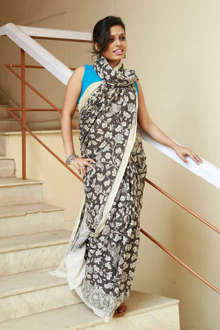 Black Beige Goddess Saraswati Hand-painted Cotton Kalamkari Saree