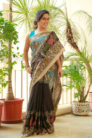 Black Red Radha Krishna Hand-painted Cotton Kalamkari Saree