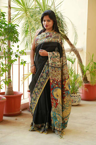 Black Radha Krishna Hand-painted CottonSilk Kalamkari Saree