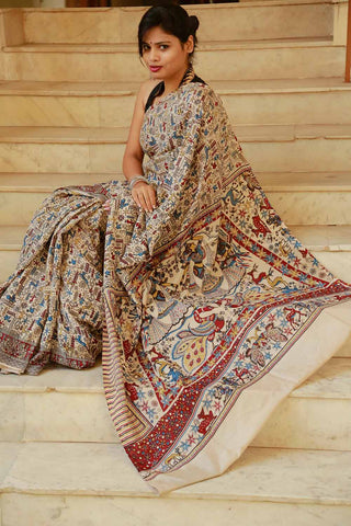 Beige Blue Tribal Block-printed CottonSilk Kalamkari Saree