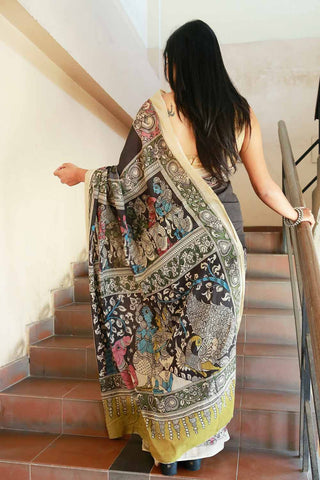 Black Blue Radha Krishna Hand-painted Cotton Kalamkari Saree