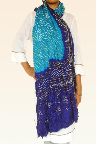 Shades of Blue Silk Bandhani Dupatta